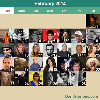 Calendar of Famous Birthdays - On This Day
